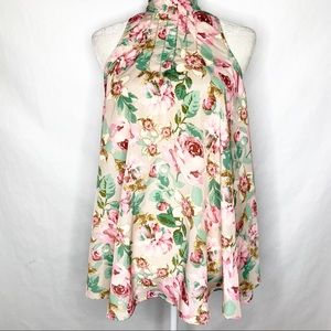 Intimately Free People Floral High Collar Blouse